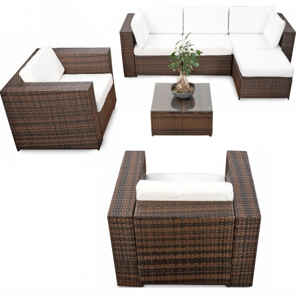 Elegant 21 Tlg Gartenmöbel Lounge Set Polyrattan ✓ XXXL ✓ Braun