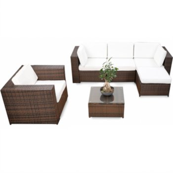 18tlg Polyrattan Gartenmöbel XXL ECK Lounge Möbel Set Sitzgruppe ...