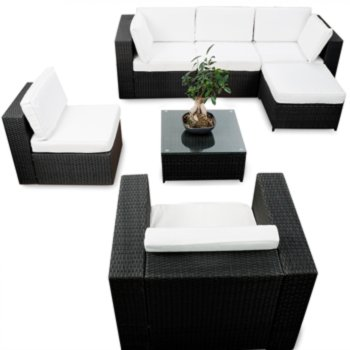 21tlg Polyrattan Lounge Möbel XXL ECK Set Gartenmöbel Sitzgruppe ...
