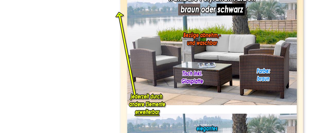 Geflochtenes 13-tlg Polyrattan Gartenmöbel Lounge Möbel Set Sofa ...